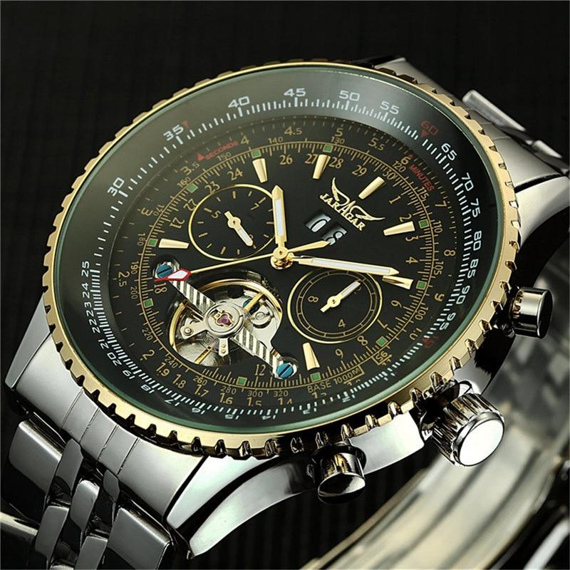 Montre homme luxe jour/mois Tourbillon montres mécaniques automatique auto-vent s Masculino montre bracelet Stell