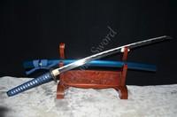 Japanese samurai sword katana 1060 high carbon steel full tang can cut bamboo special customized blue saya battle ready