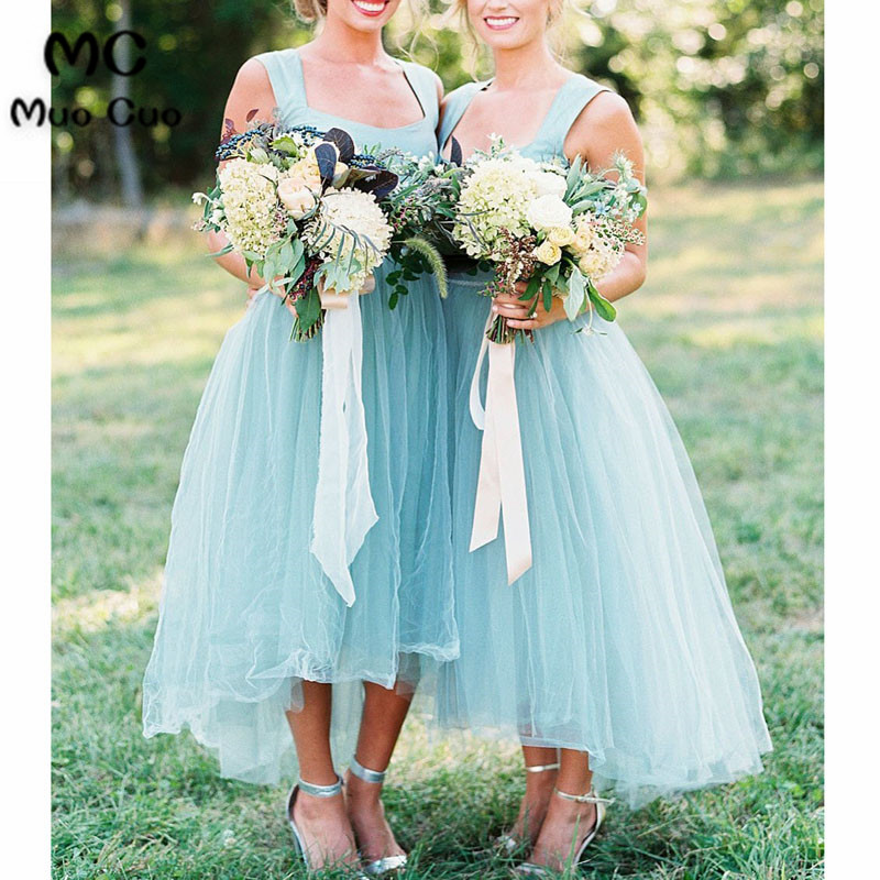 2018 Hi Lo Gown Blue   Bridesmaid     Dresses   Tank Tulle Formal Wedding Party   Dress   Custom Made Tulle Women   Bridesmaid     Dress