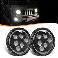 7 Inch 60W White Halo Angel Eye H4 LED Round Headlight For Jeep Wrangler JK TJ