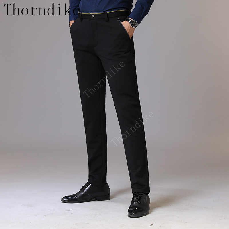Thorndike мужская одежда 2018 Осень Новые мужские Стрейчевые повседневные Черные Брюки деловые модные однотонные хлопковые брюки мужской бренд