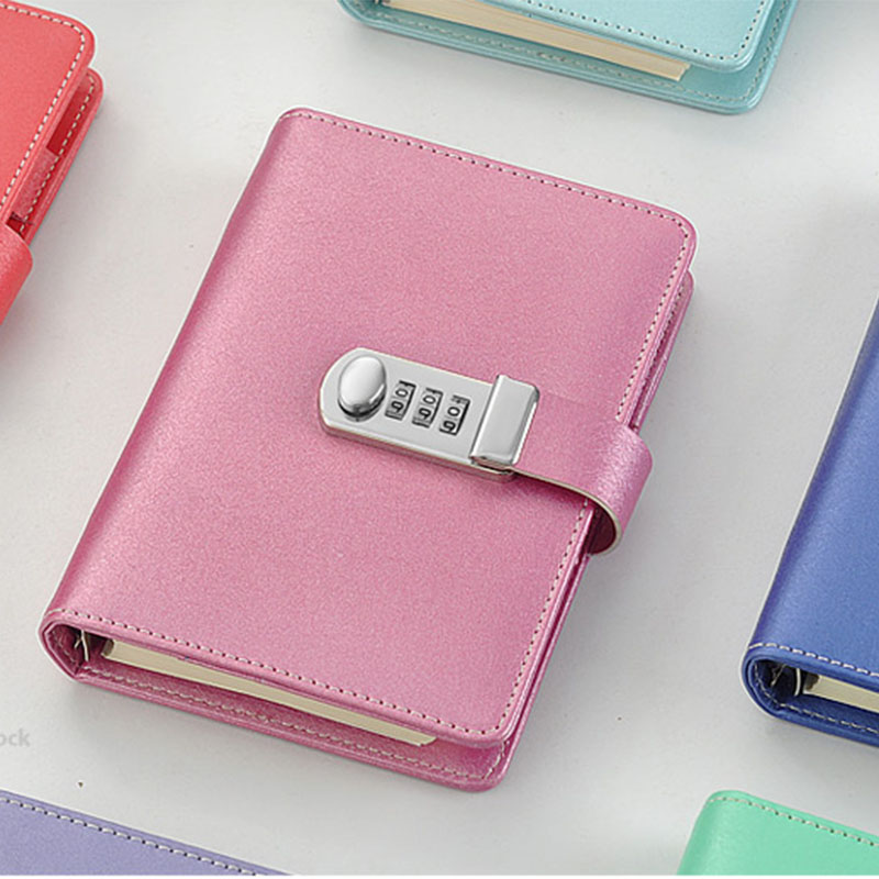 NEW Spiral notebook Leather diary with lock code notepad stationery products supplies creative Trends 100 sheets paper gift in Notebooks from Office School Supplies