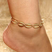 Fashion Charm Bohemian Natural Shell Pendants Anklets Boot For Women Gold Color Foot Bracelet Jewelry Wholesale(China)