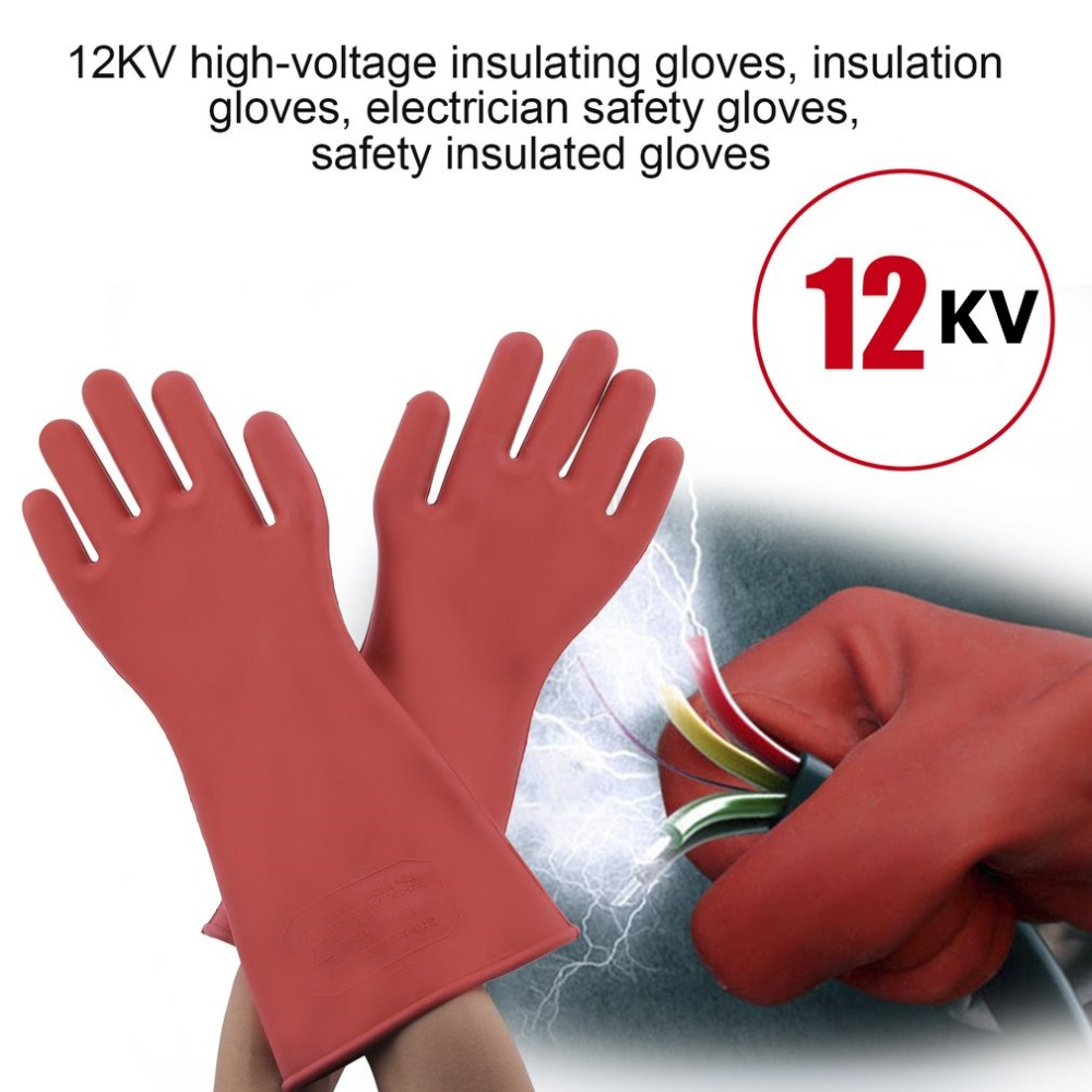 Isolerende Latex 1 Pair Professional 12kv High Voltage Electrical Insulating Gloves Rubber Electrician Safety Glove 40cm Accessory
