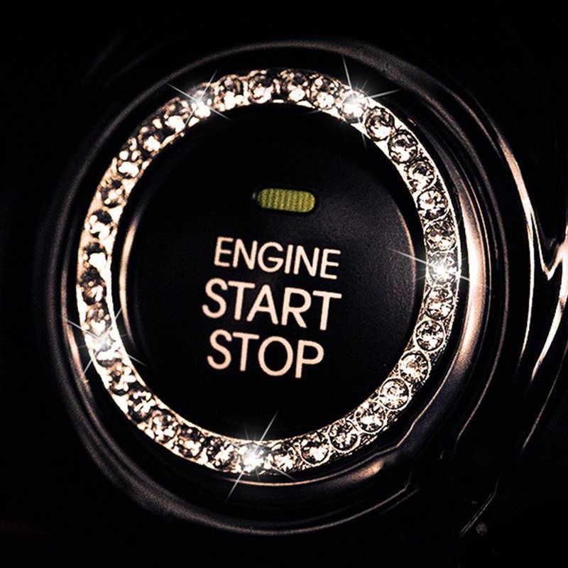Coche de estilo diamante interruptor de encendido cubierta decoración pegatinas protección círculo para Mazda 2 3 5 6 8 Cx-3 CX-4 CX-5 CX-7 CX-9