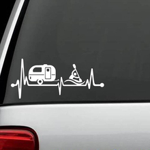 Camper Travel Trailer Kayak Heartbeat Decal Sticker Tent Hiker Art Rear Window Car