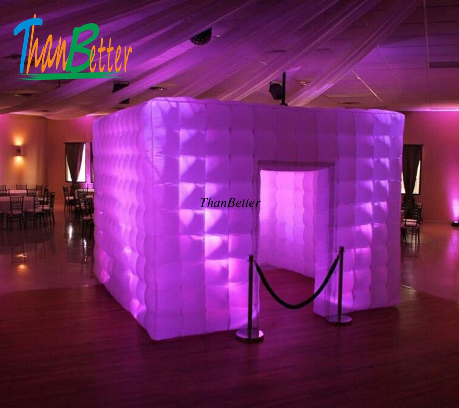3.0x3.0x2.4 M inflatable photo booth / portable photo booth enclosure / theme photo booth with Multi-color LED lights free shipping 2 5m led lighting inflatable photo booth with window led inflatable photo enclosure tent inflatable cube tent