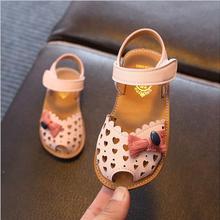 Новые летние детские сандалии для девочек из натуральной кожи галстук бабочка туфли принцессы дети принцесса сандалии для малышей обувь розового цвета