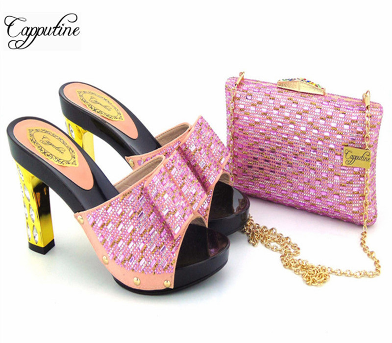 Capputine Pink Color Rhinestone Shoes And Bag Set African Style High Heels Slipper Shoes And Bag Set For Party 11Colors