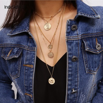 Multi Layer Long Adjustable Chain Pendant Choker Necklace
