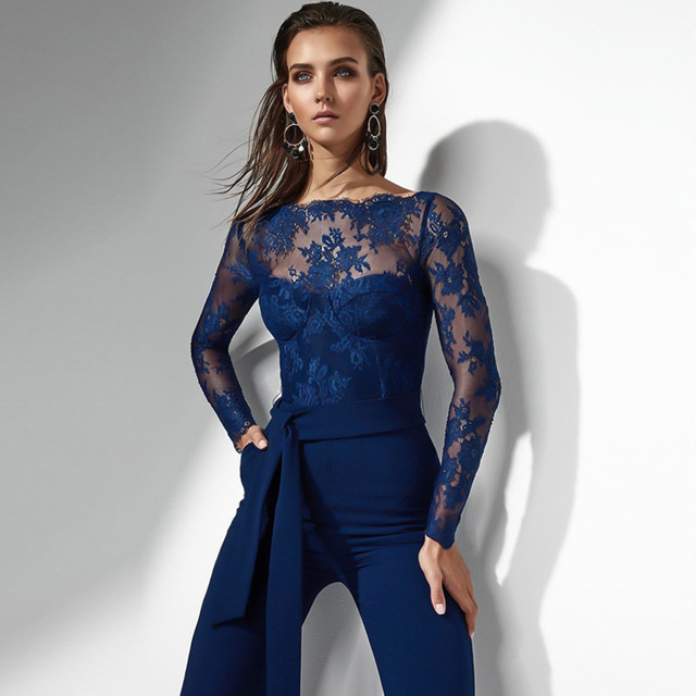 b4f52b59340 White Blue Black Elegant Off The Shoulder Lace Women Jumpsuit Long Sleeve  Fitted Sexy Romper Playsuit Macacao Feminino YS-16