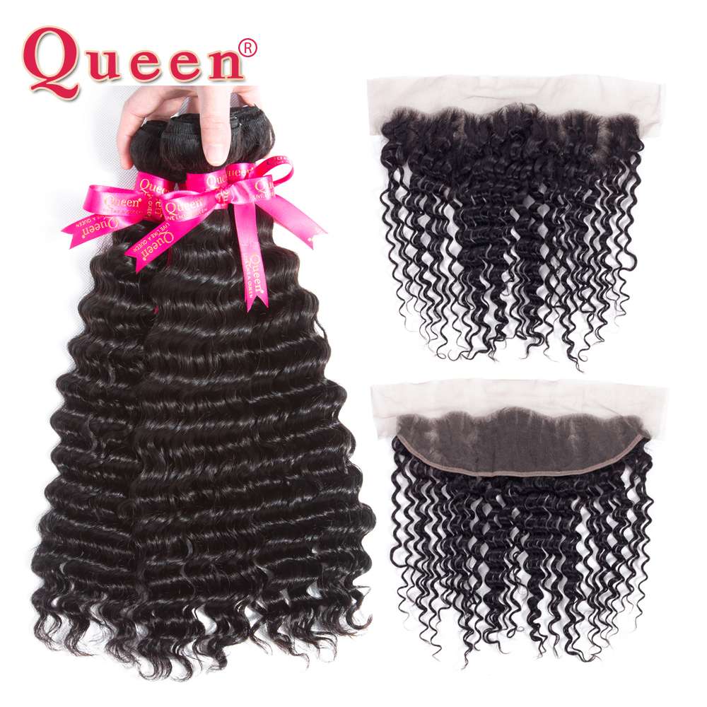 Queen Hair Products 3 Or 4 Bundles With Frontal Closure Peruvian Deep Wave 13 4 Closure