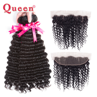 Queen Hair Products 3 Or 4 Bundles With Frontal Closure Peruvian Deep Wave 13*4 Closure With Bundles Remy Human Hair Extensions