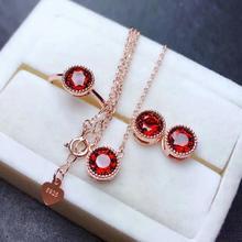 цена 925 sterling silver real Natural garnet Jewelry Sets rings pendants earrings send necklace fine new women wholesale mtz060689ags онлайн в 2017 году