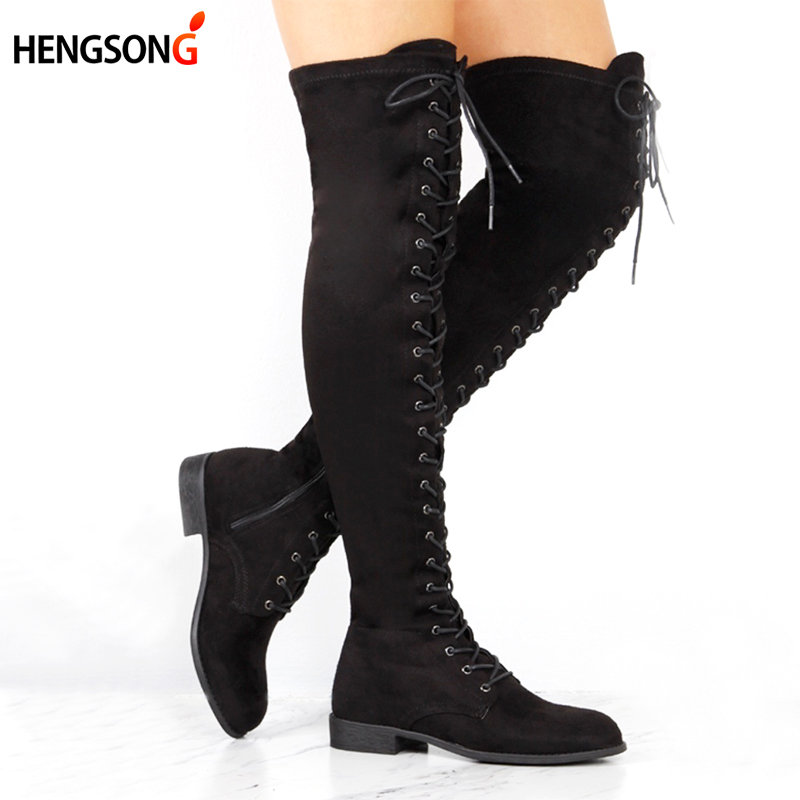 Sexy Lace Up Over Knee Boots Women Boots Flats Shoes Woman Square Heel Rubber Flock Boots Botas Winter Plus Size 34-43 401446