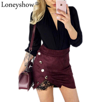 Loneyshow New Fashion Ladies High Waist Pencil Skirts Button Lace Patchwork Sexy Bodycon Suede Leather Split Party Mini Skirt