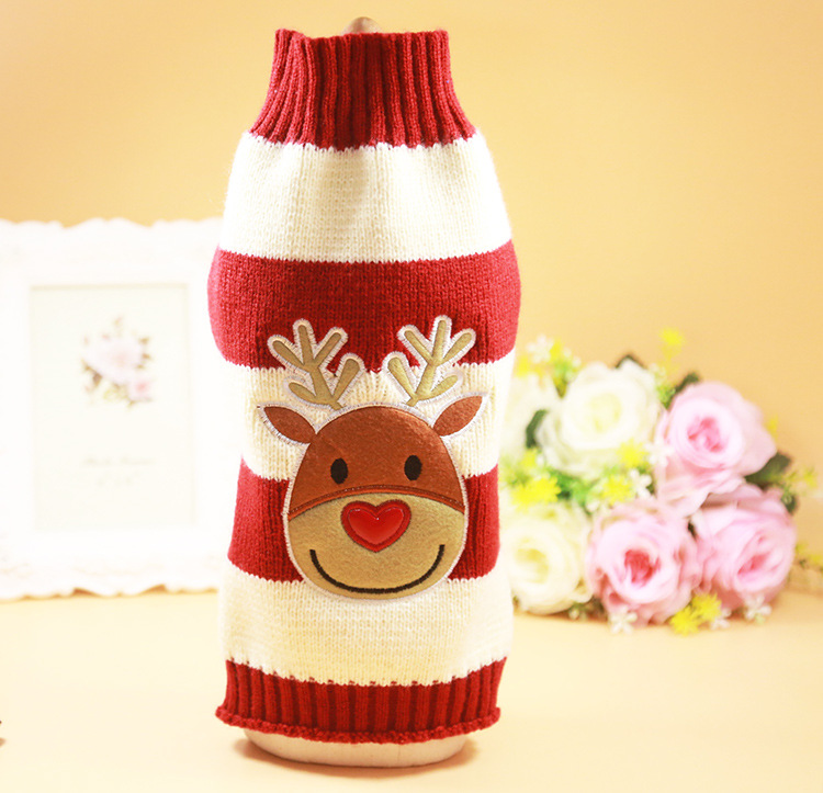 B85 Hot sale Christmas Pet Clothes Winter Puppy Dog Cat Sweater Santa Claus Costume for Yorkie Warm Dog Elk Deer Knitted sweater