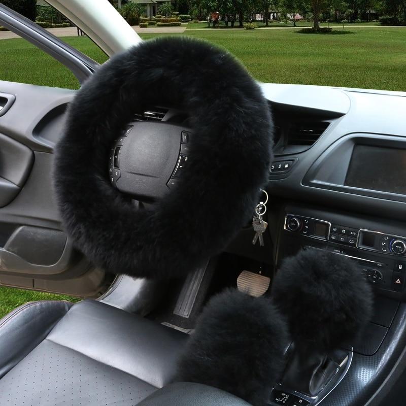 3pcs / set hiver laine couverture de volant de voiture longue laine - Accessoires intérieurs de voiture - Photo 2