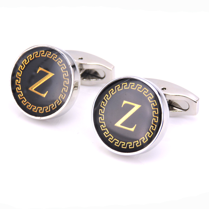DY The new high quality classic style round black letter Z gold pattern word Cufflinks mens business suit wedding Cufflinks