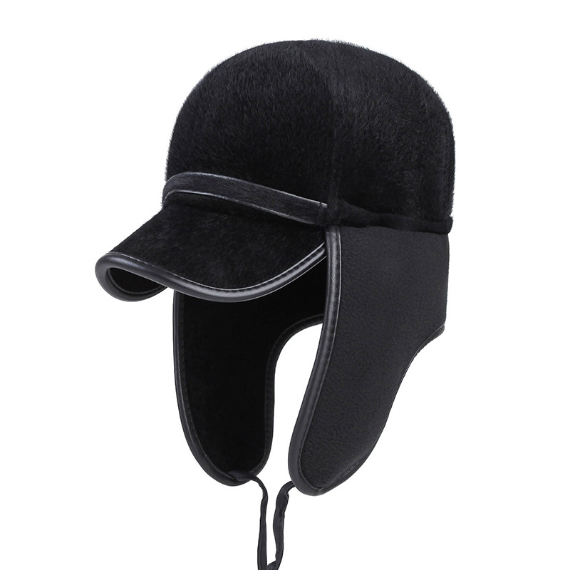 Winter Baseball Cap For Men With Ear flaps Keep Warm Sea lion Fur Bone Snapback Cap For Men Ear Protection Windproof Casquette adjustable outdoor keep warm earmuff button baseball cap