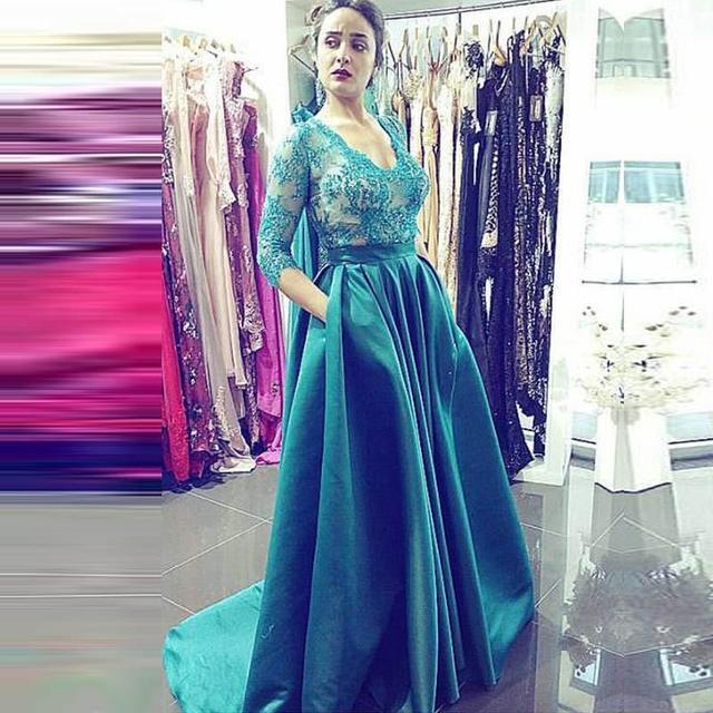 HQ Emerald Green Evening Dress V Neck Lace Beaded Satin A Line Vestidos de  festa Elegant Women Formal Gowns Dresses 599ccf4d9475