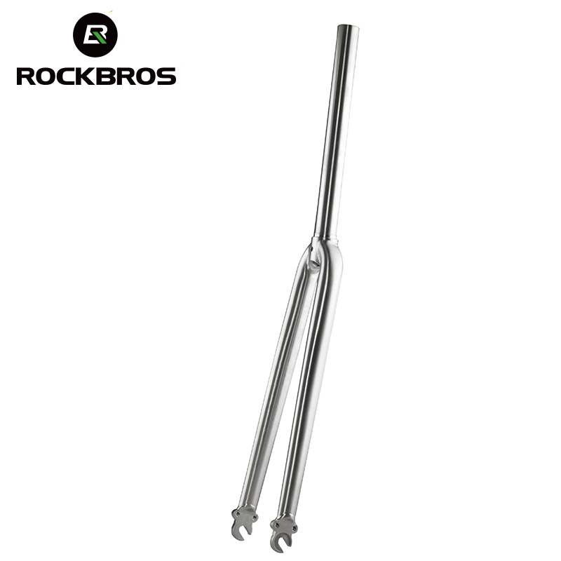 ROCKBROS Bikes Fork Titanium Alloy Front Fork Road Bikes Bicycle Parts 1-1/8 700C Wheel Tire Cycling Bicycles Accessories
