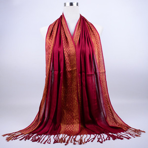 Простой модный шарф с блестками и кисточками, зимний дизайн, хлопковый клетчатый шарф в полоску с люрексом, длинные Хиджабы, мусульманские ш...