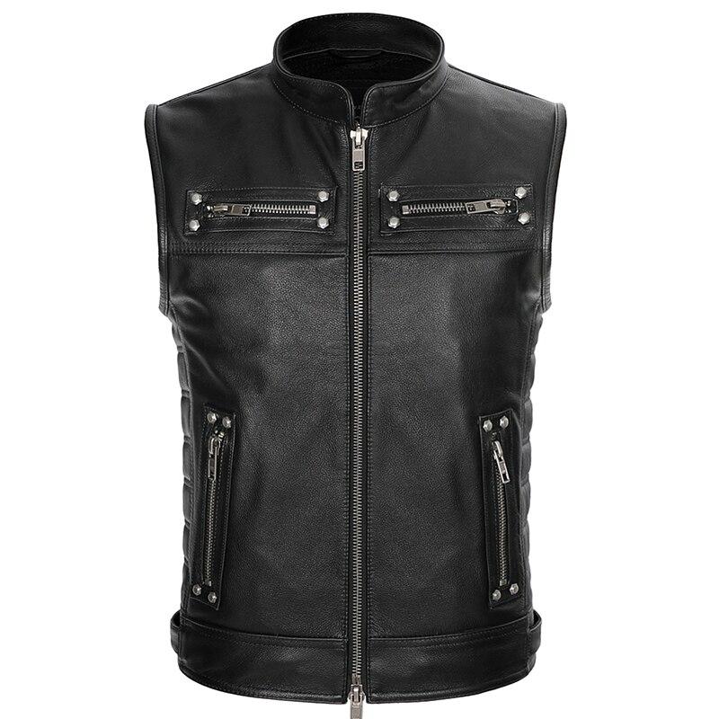 Image 3 - Real Leather Biker Vest Mens Stand Collar Zipper Pockets Motorcycle Vest Jackets Waistcoat Genuine Cow Leather Black SlimGenuine Leather Coats   -