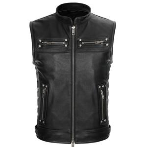 Image 3 - Real Leather Biker Vest Mens Stand Collar Zipper Pockets Motorcycle Vest Jackets Waistcoat Genuine Cow Leather Black Slim