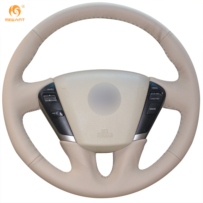 MEWANT Beige Genuine Leather Car Steering Wheel Cover for Nissan Teana 2008-2012 Murano 2009-2014 car styling cowl leather steering wheel cover for lexus nx200t nx300h is250 ct200h is200t