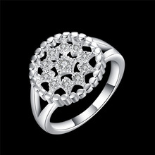 Hot circular hollow silver ring with zircon fashion jewelry woman birthday gift top quality factory cheap wholesale R799