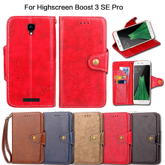 Flip Case For Highscreen Boost 3 SE Pro Vintage with kickstand PU Leather Luxury Wallet Fundas Cover with Lanyard