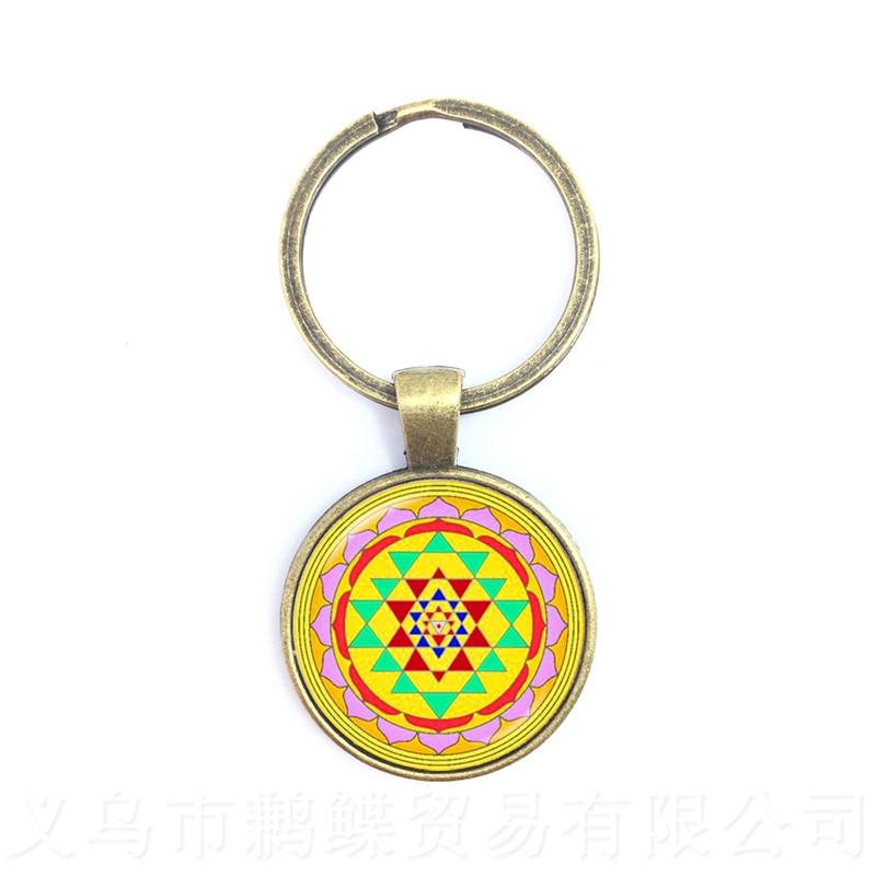 Mandrake Glass Dome Key Chains Trendy Chakra Mandala Glass Jewels Geometric Pattern Combination Picture Gift For Family