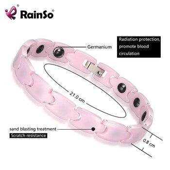 bfe01041ff31 RainSo Rosa encanto pulseras para chica de hematita magnética pulsera de  cerámica para mujeres 2019 caliente