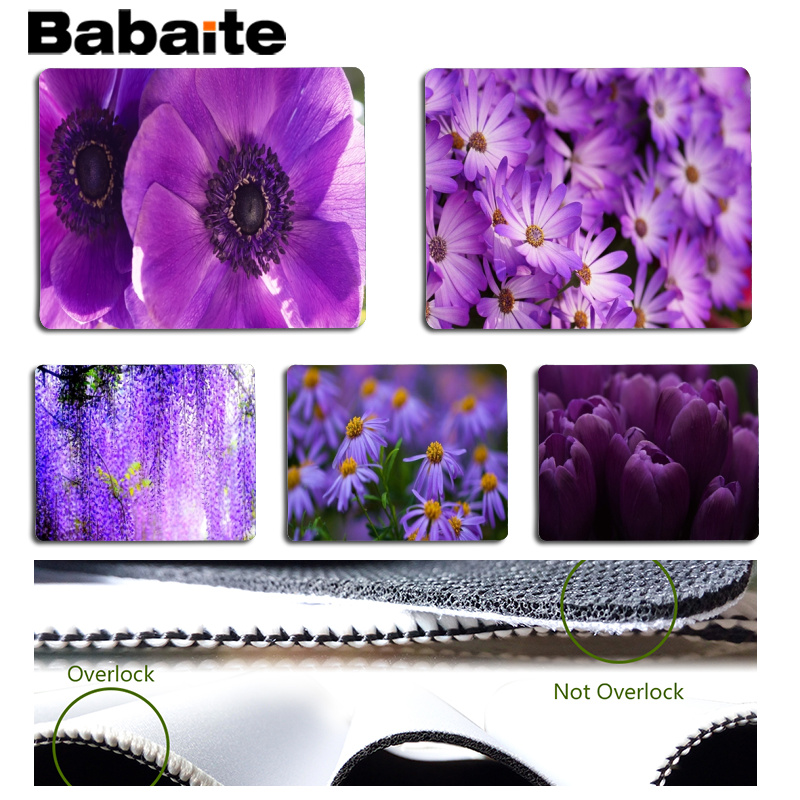 Babaite New Arrivals Purple Flowers Large Mouse pad PC Computer mat Size for 180x220x2mm and 250x290x2mm Small Mousepad