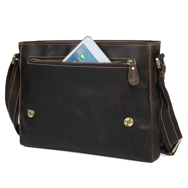 Luxus Business Marke Tasche Mode Echtem Männlichen Männer Große Schulter Aktentasche Brown Laptop Dark Kapazität Schwarz Leder qqzrSnR