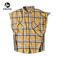 Side Zipper Plaid Flannel Shirt Men Sleeveless 2017Summer Oversize Hip Hop Shirts Plus Size Blue Shirt