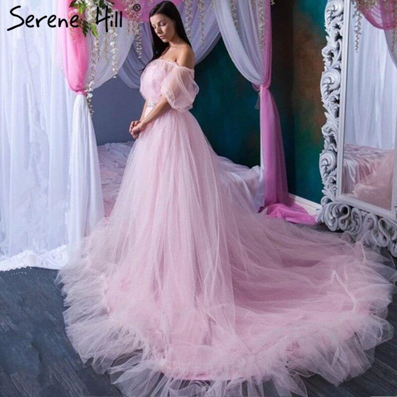 Romantic Pink Long Train Pregnant Photography Wedding Gown 2019 Ruffles Wedding Dresses Plus