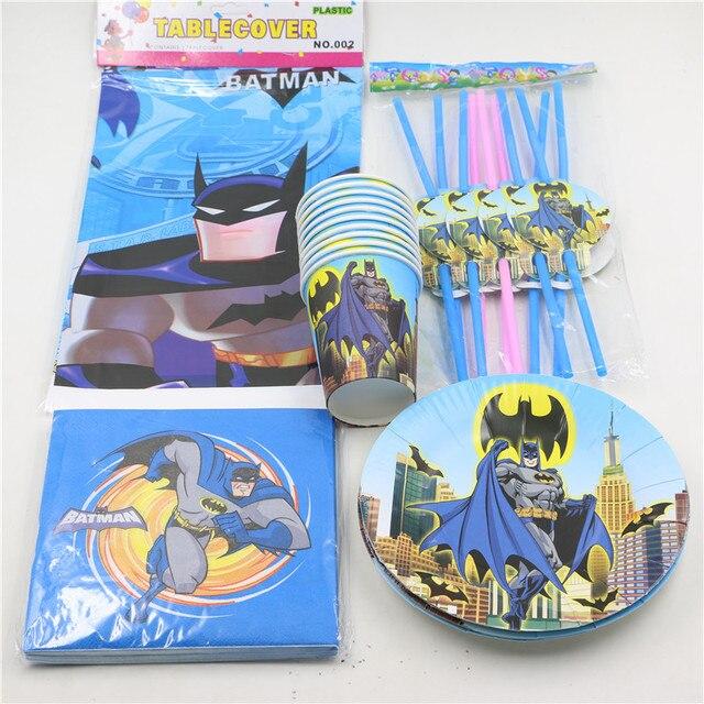45pcslot batman design disposable tableware plates cups small set
