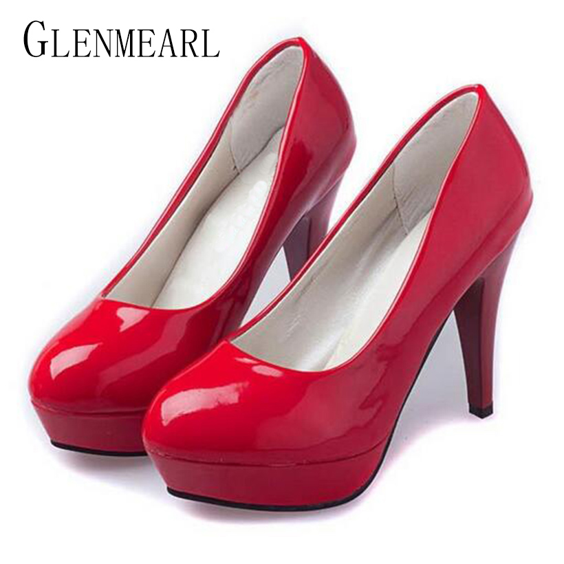 2018 Brand Women Pumps Shoes Patent Leather Black White Red Round Toe Platform Single Female High Heels Shoes Plus Size 42 ZK0.5 women luxury shoes platform pumps bridal wedding lolita shoes black red beige bottom peep toe high heels fetish shoes size 4 16