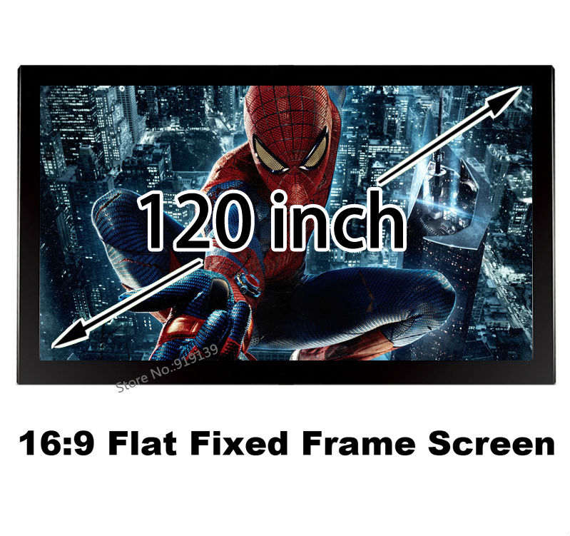 Bright Image 3D Cinema Projector Screen 120 Inch 16:9 Fixed Frame Projection Screens Good Using For Conference Room Office low price 92 inch flat fixed projector screen diy 4 black velevt frames 16 9 format projection for cinema theater office room