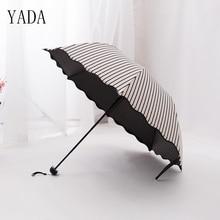 hot deal buy yada black & white flounce stripe arched folding umbrellas rain women princess uv umbrella for womens windproof umbrellas ys062