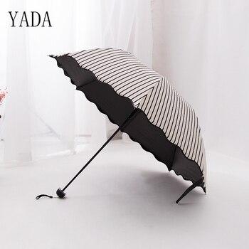 YADA Black & White Flounce Stripe Arched Folding Umbrellas Rain Women Princess uv Umbrella For Womens Windproof YS062