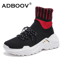 ADBOOV New High Top Sneakers Women ( With Fur / No Fur ) Plus Size 35 42 Ankle Sock Boots Knit Upper Flat Platform Shoes Woman