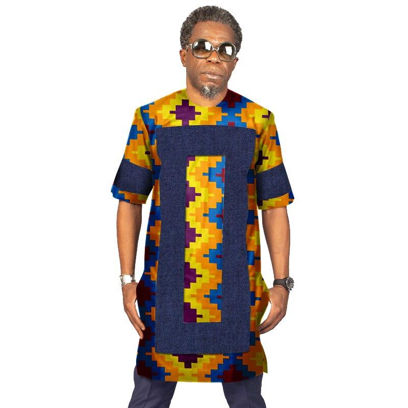 Été hommes imprimer Cowboy top t-shirts vêtements africains Bazin Riche conception africaine vêtements décontracté 100% coton hommes t-shirts ATN708