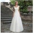 Marca Novo 2017 Lace Branco Ver Através Longo Trem Vestidos de Casamento Tulle da Luva do Tampão Longo Do Vestido de Casamento A9473843