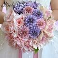 2016 de Seda Rosa Lavanda Novia Flor Ramo de La Boda Ramo de Novia De Fleurs Pour Mariage Rosa Bruidsboeket