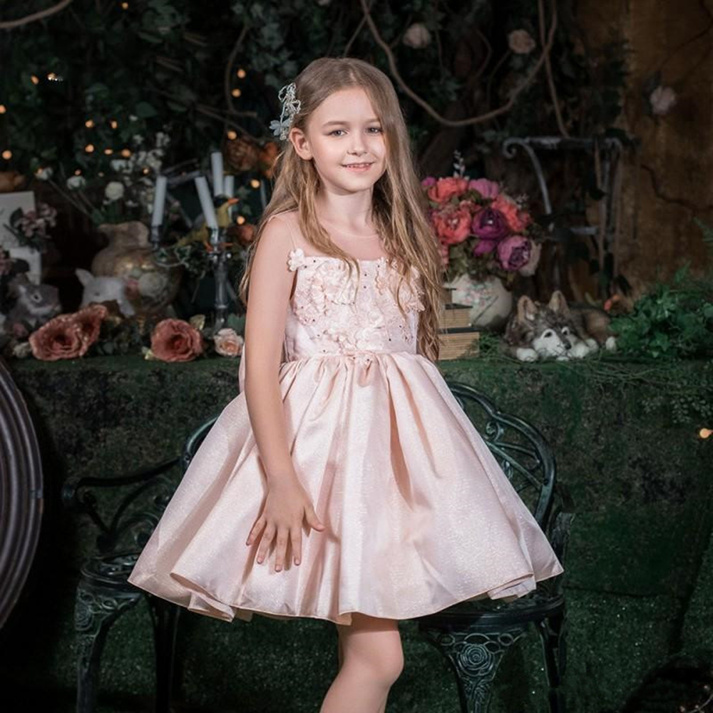 Gorgeous Knee Length Princess   Dress   with 3D Floral Appliques Crystals New Long   Flower     Girl     Dress   For Special Occasion Vestidos