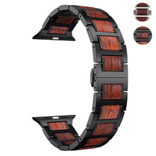 De Madera correa de reloj para Apple 5 4 banda de 44mm 40mm iWatch 3 banda 42mm 38mm pulsera sándalo rojo Natural + banda de acero inoxidable 3 2 1(China)