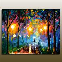 Handpainted Lover Rain Street Tree Lamp Landscape Oil Painting On Canvas Wall Art Wall Pictures For Living Room Home Decor Image